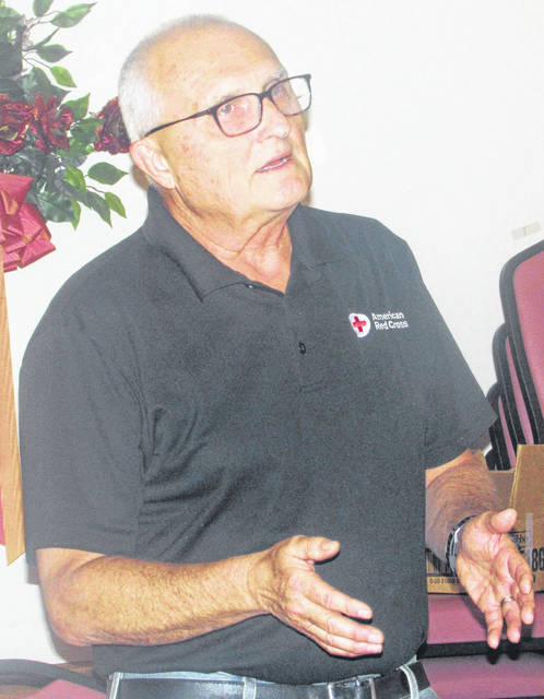 Ottawa Municipal Director Jack Williams provides an update on village projects during a meeting of the Ottawa Area Chamber of Commerce Tuesday at The Schnipke Inn.