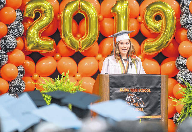 Elida's Salutatorian Jency Jenkins speaks during the 126th graduation ceremony at the Elida Fieldhouse.