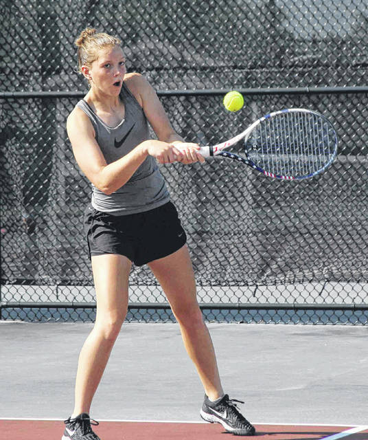 Erin Hotmire braces for a backhand shot Saturday during the second day of competition at the Lima Area Tennis Association's City Singles tournament at UNOH.