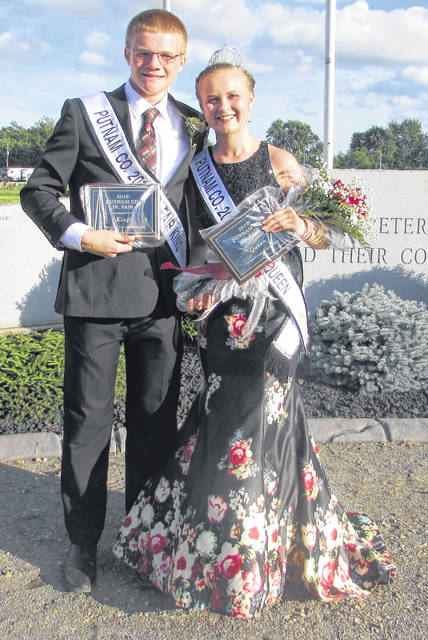 Noah Warnecke, left, was crowned Putnam County Fair king, and Morgan Kamphaus was crowned queen during Monday night's ceremony.