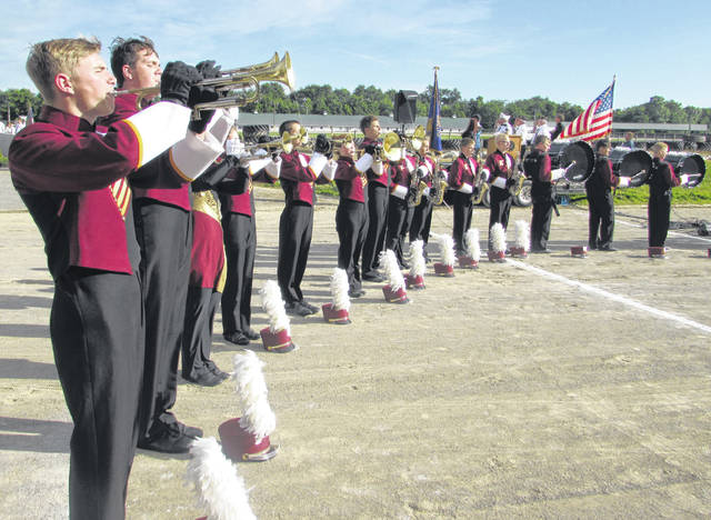 Kalida's marching band was one of the many Putnam County bands to perform in the marching band spectacular Monday night at the Putnam County Fairgrounds in Ottawa.