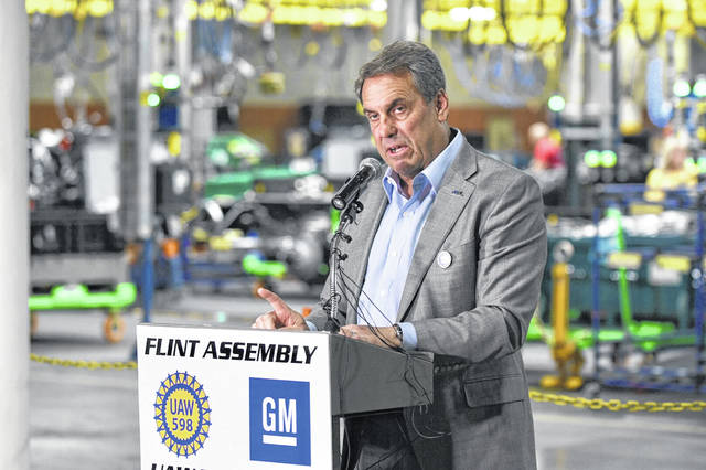 GM President Mark Reuss announces Wednesday that GM will add 1,000 jobs at its Flint Assembly plant as part of a $150 million investment to boost production of the Silverado and Sierra heavy-duty pickup trucks. (Max Ortiz/Detroit News/TNS)
