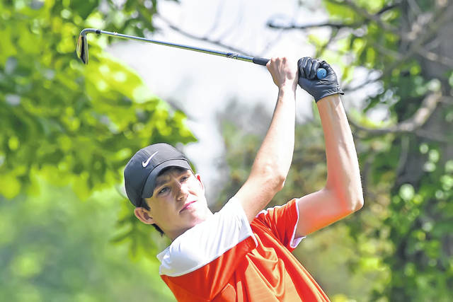 Elida's Riley Creps competes last week in the Cappie Sportswear Open at Springbrook Golf Club as part of the Lima Junior Golf Association's McDonald's Junior Series.