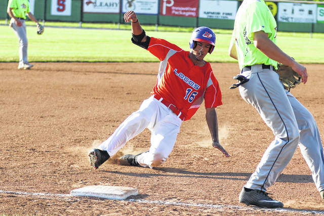 The Lima Locos' Tyler Tolve slides safely into third base during Thursday night's game against Richmond at Simmons Field.