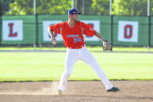 The Lima Locos' Jacob Pennington throws on to first after fielding a grounder during Thursday night's game against Richmond at Simmons Field.