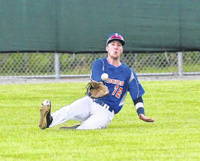 The Lima Locos' Nick Colina gets under a fly ball during Wednesday night's game against the Grand Lake Mariners at Simmons Field.