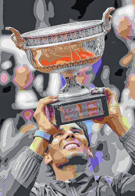 Spain's Rafael Nadal lifts the trophy as he celebrates his record 12th French Open tennis tournament title after winning his men's final match against Austria's Dominic Thiem in four sets, 6-3, 5-7, 6-1, 6-1, at the Roland Garros stadium in Paris, Sunday, June 9, 2019. (AP Photo/Michel Euler)
