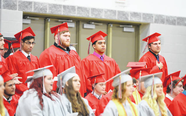 Graduates during graduation at Spencerville High School.