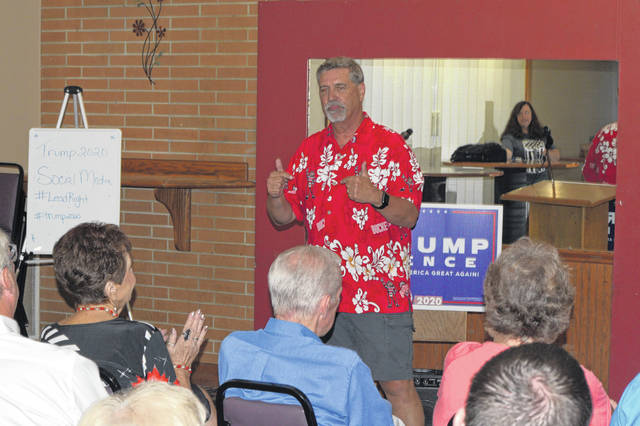 Allen County Republican Party Central Committee Chairman Juergen Waldick fires up the faithful prior to President Donald Trump's announcement that he'll run for another term in 2020.