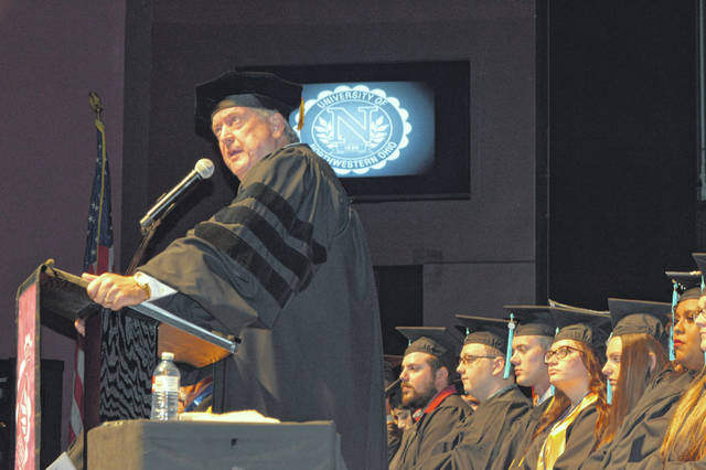 UNOH President Dr. Jeff Jarvis addresses this year's class at commencement ceremonies held Sunday at Veterans Memorial Civic Center.