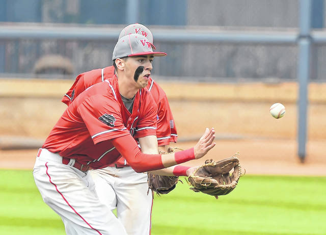 Van Wert's Jaxson Amweg fields a ground ball during a Saturday Division II state semifinal against Chaminade-Julienne at Canal Park in Akron.