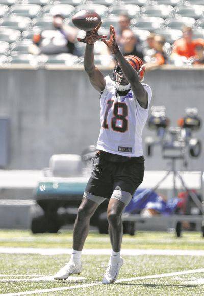 Wide receiver AJ Green participates Tuesday in the Bengals' minicamp in Cincinnati.