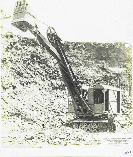 This undated photo shows a 1-yard, single-line gasoline shovel owned by Claycraft Mining & Brick Co., Columbus, built by the Lima Power Shovel Co.