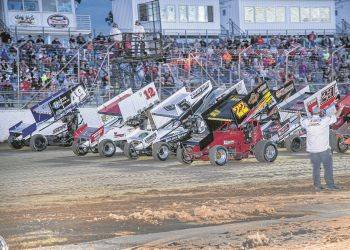 "As part of a salute to Travis ""The Rabbit"" Miller drivers do a four wide parade lap Friday night prior to the Run For The Rabbit at Limaland Motorsports Park. Mike Campbell photo"