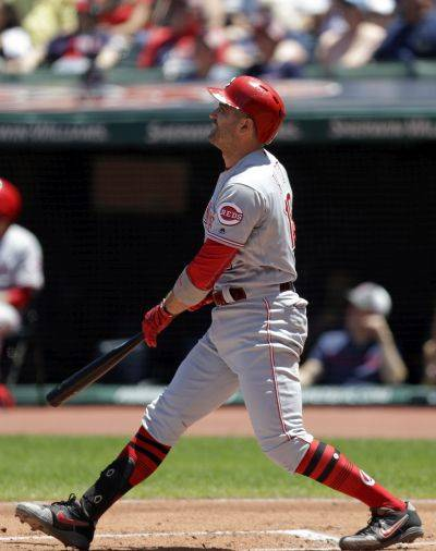 Cincinnati's Joey Votto watches his first inning solo home run during Wednesday's game in Cleveland. (AP photo)
