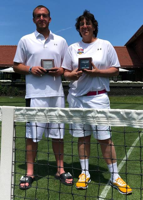 The duo of Diane French and Brandon French from Lima teamed up to win a silver ball and capture second place at the National Grass Court Tennis Championships held June 21-24 in Pontiac, Michigan. Frenches team are ranked second nationally by the United States Tennis Association.