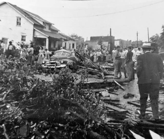 This photo was shared by Lana Mourning. She writes it is from July 19, 1950, and shows how the north side of Lima was damaged after a tornado went through.