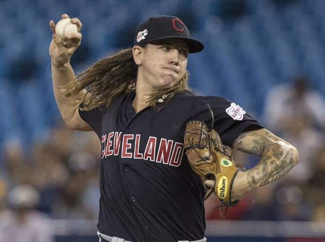 Cleveland Indians starting pitcher Mikel Clevinger throws against the Toronto Blue Jays during first-inning baseball game action in Toronto, Monday.