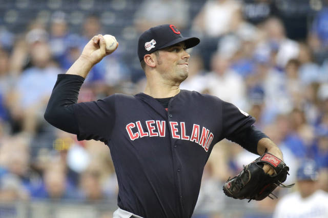 Cleveland Indians starting pitcher Adam Plutko throws during the first inning of a baseball game against the Kansas City Royals Thursday, July 25, 2019, in Kansas City, Mo. (AP Photo/Charlie Riedel)