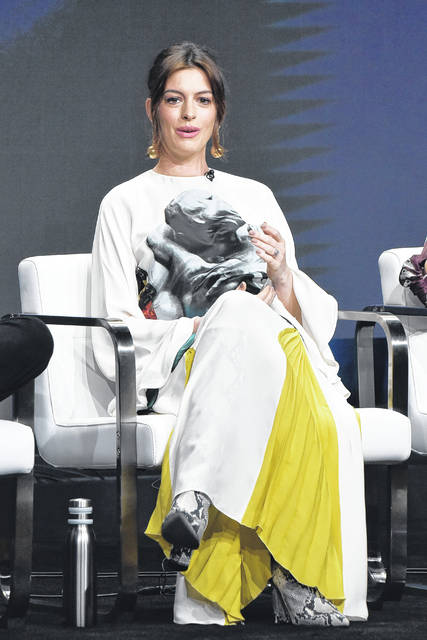 """Anne Hathaway participates in the Amazon Prime Video """"Modern Love"""" panel at the Television Critics Association Summer Press Tour on Saturday in Beverly Hills, Calif."""