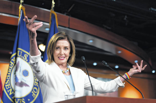 Speaker of the House Nancy Pelosi, D-Calif., holds a news conference on Capitol Hill in Washington, Wednesday, July 17, 2019.