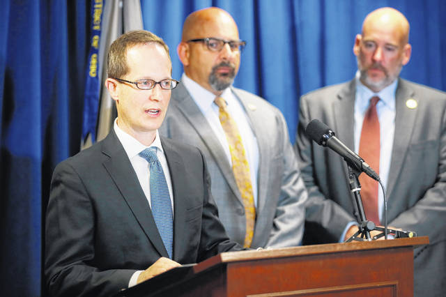Benjamin Glassman, United States Attorney of the Southern District of Ohio, speaks during a news conference, Thursday, July 18, 2019, in Cincinnati. Federal authorities say Miami-Luken, an Ohio-based wholesale drug distributor that's been linked before to the opioid drug crisis, has been charged in a painkiller pill conspiracy cases.