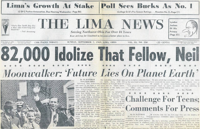 The front page of The Lima News from Sept. 7, 1969.