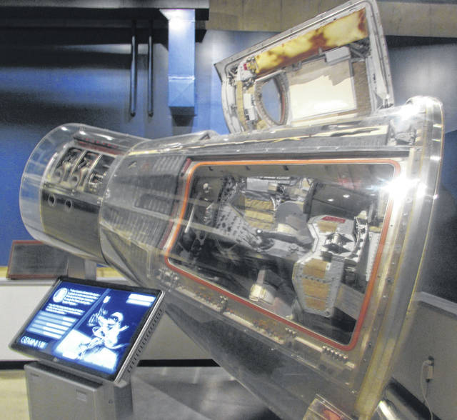 A Gemini 8 Spacecraft capsule that Neil Armstrong flew his first mission on is on display at the Armstrong Air and Space Museum.