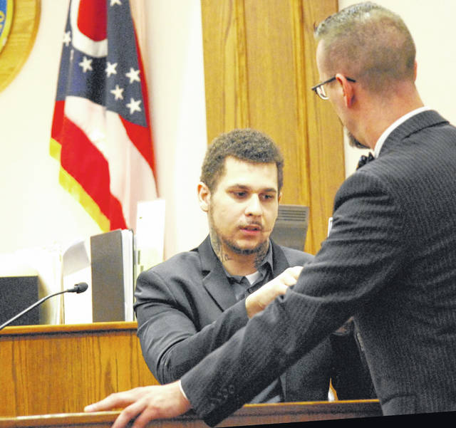 Jurors in the trial of Domminic Potts deliberated for only an hour Tuesday afternoon before returning a verdict of not guilty in the Lima man's felonious assault case. Potts is pictured with his attorney, Carroll Creighton.