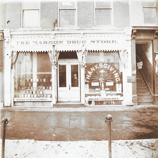 The Marmon drug store, photographed in an unknown year. James Marmon opened it in late 1867, and it was located on the Public Square.