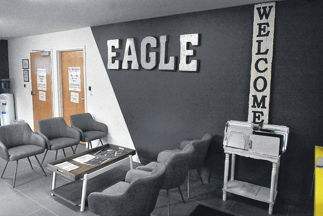 Family and friends of people with medical marijuana cards must sit in the waiting room of Eagle Dispensaries, 502 N. Dixie Highway, Wapakoneta. The region's first marijuana dispensary opened its doors Monday.