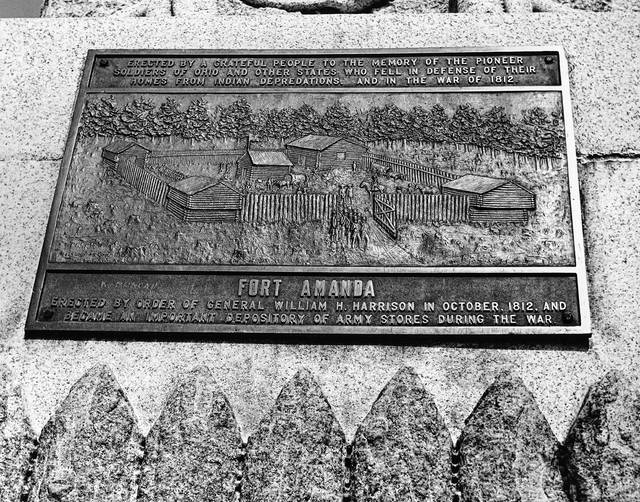A marker from the monument at Fort Amanda Park.