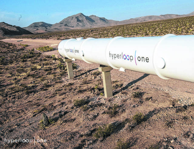 A tube can be seen at Hyperloop One's propulsion open-air test in the Las Vegas desert in May 2016. A pod from a test will be on display in Lima on Monday.