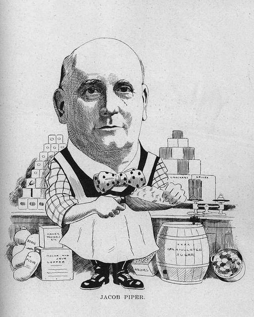 This caricature of Jacob Piper is from 1907.
