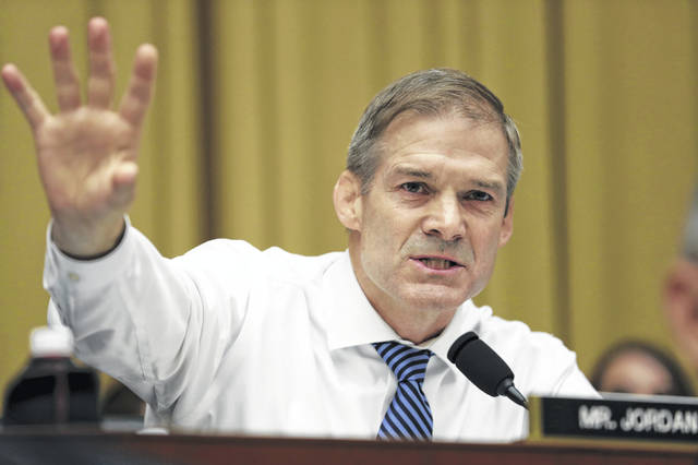 "Rep. Jim Jordan said that instead of continuing to probe false conspiracy allegations against Trump, the committee should try to figure out ""how the false accusations started."" (AP Photo/Andrew Harnik)"