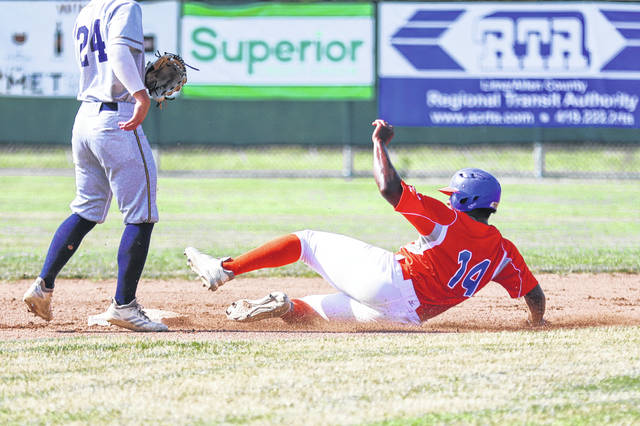 The Lima Locos' Colton Frank slides safely into second base during a Friday night game against Galion at Simmons Field.