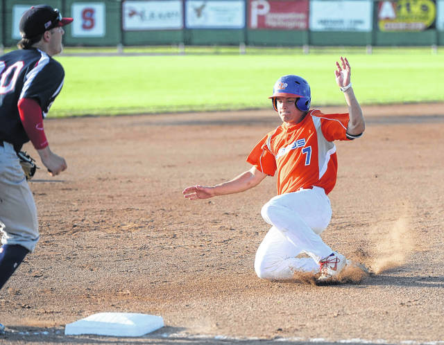 The Lima Locos' Randon Jernigan records a stolen base Tuesday night during Game 3 of the Great Lakes Summer Collegiate League championship series against Licking County at Simmons Field.