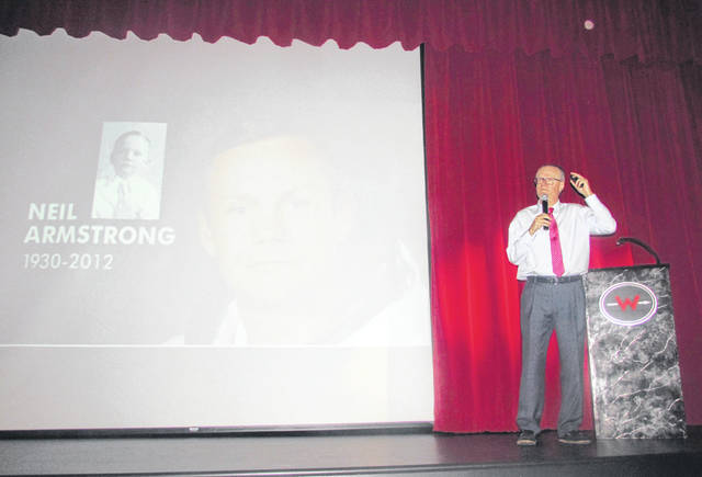 "James Hansen, author of ""First Man: The Life of Neil A. Armstrong,"" spoke to a large audience at Wapakoneta Middle School on Thursday night."