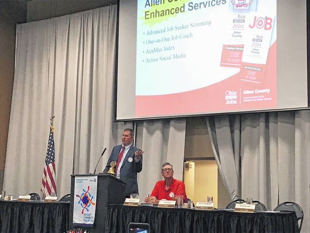 Joe Patton, executive director of Ohio Means Jobs and Department of Job and Family Services in Allen County, talks to the Lima Rotary Club on Monday.