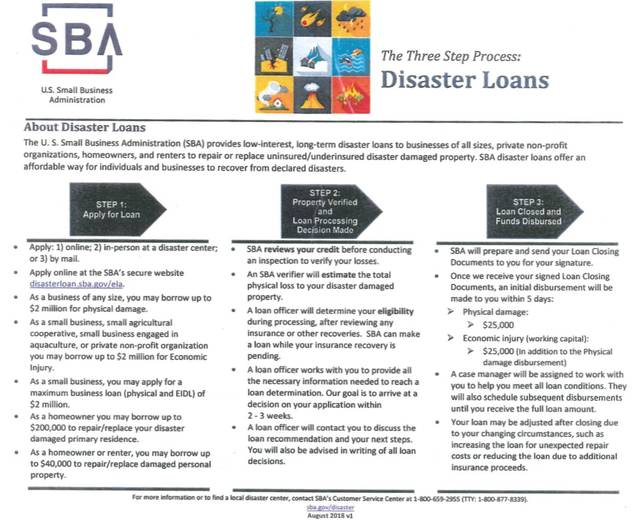 U.S. Small Business Administration Fact Sheet - Three step process to apply. Provided by SBA.
