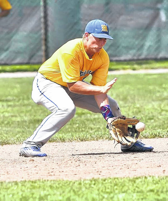 St. Marys' Derek Fisher fields a ground ball against Elida during Sunday's District ACME tournament at Shawnee High School.