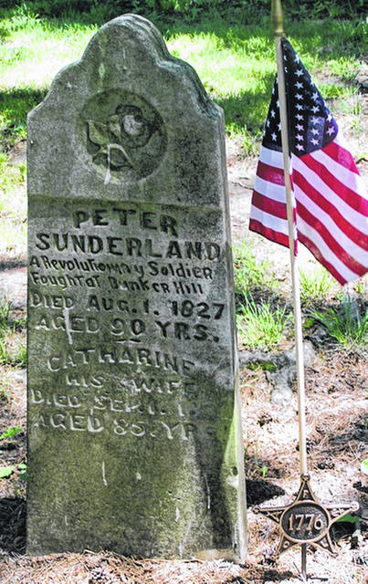 Peter Sunderland's gravestone. Sunderland was a veteran of the Revolutionary War who was badly wounded at the Battle of Bunker Hill. The Sunderlands' ancestors had emigrated from England to New Jersey. Peter Sunderland moved west after the Revolutionary War, eventually settling his family in Montgomery County.