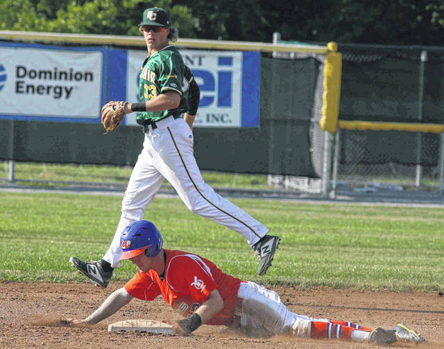 The Lima Locos' Nick Colinas records a stolen base against St. Clair's Daniel Warkentin durng Thursday night's game at Simmons Field.