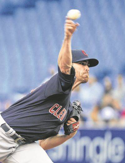 Cleveland's Shane Bieber held the Blue Jays hitless until the seventh inning of Wednesday night's game in Toronto. (AP photo)