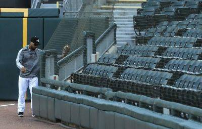 Chicago White Sox's Leury Garcia checks out the new protective netting that was extended to the right field foul pole before a Monday's home game against Miami. (AP photo)