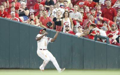 Reds right fielder Yasiel Puig fields a fly ball during Friday night's game against St. Louis in Cincinnati. (AP photo)