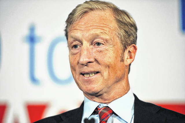 Billionaire Activist Tom Steyer speaks to supporters Jan. 9 in Des Moines, Iowa. Steyer announced Tuesday he would run for the Democratic nomination for president.