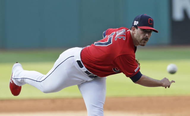 Cleveland Indians starting pitcher Aaron Civale delivers in the first inning in a baseball game against the Texas Rangers, Monday, Aug. 5, 2019, in Cleveland. (AP Photo/Tony Dejak)