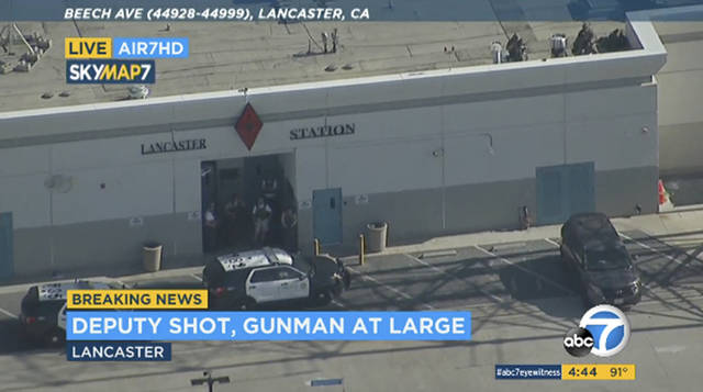 "FILE - This Wednesday, Aug. 21, 2019 file image taken from video provided by KABC-TV shows the outside of a Los Angeles County sheriff's station in Lancaster, Calif. The Los Angeles County Sheriff's Department says a deputy who claimed he was shot in a station parking lot earlier this week was lying. Assistant Sheriff Robin Limon said at a news conference late Saturday that Wednesday's ""reported sniper assault was fabricated"" by Angel Reinosa. The 21-year-old deputy told authorities he used a knife to damage his uniform shirt. He's been relieved of duties and will face a criminal investigation. He didn't explain his motive. (KABC-TV via AP, File)"