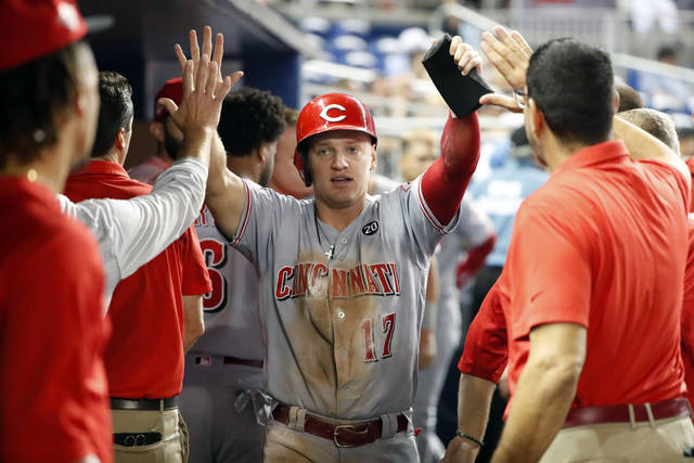 Cincinnati Reds' Josh VanMeter (17) is congratulated by teammates after scoring on a groundout by Freddy Galvis during the third inning of a baseball game against the Miami Marlins, Monday, Aug. 26, 2019, in Miami. (AP Photo/Wilfredo Lee)